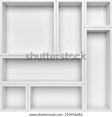 Empty white shelves background. Orginize product background - stock photo