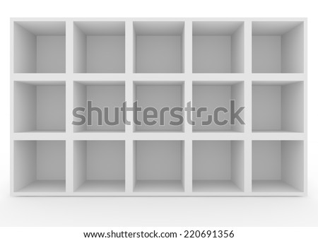 Empty white shelves with no lighting. Isolated background