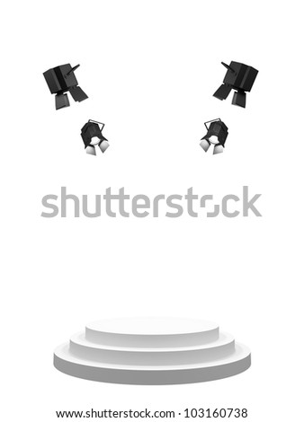 Empty white stage, shined with searchlights. Isolated on a white background.