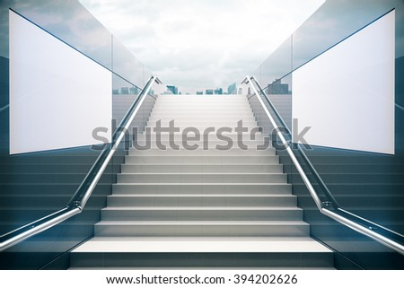 Empty white stairs in pedestrian subway with dull sky. 3D Render - stock photo