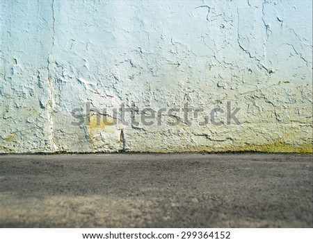 Empty white street dirty wall with ground floor - stock photo