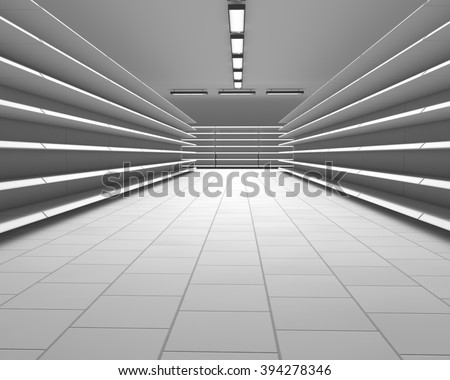 Empty white supermarket shelf rows 3D render. - stock photo