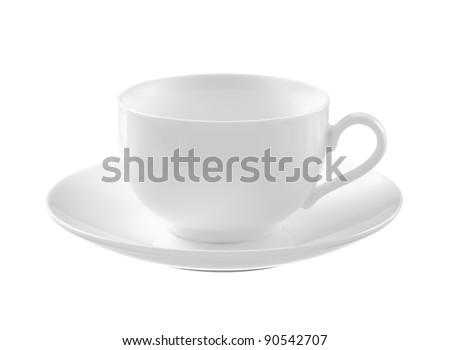 Empty white tea cup and saucer over white