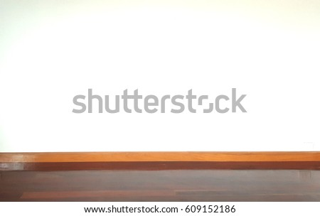 Empty white wall and wooden oak floor