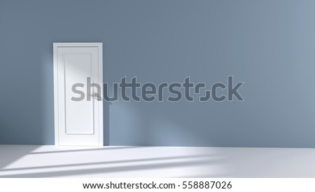 Empty white wall with closed door and  sunlight shining through a window- 3D Illustration