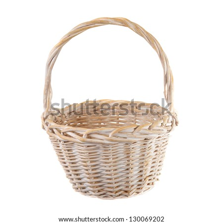 Empty white wicker basket