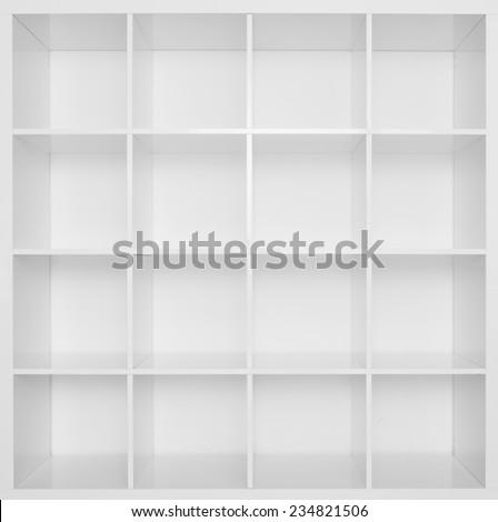 Empty white wooden bookshelf . - stock photo