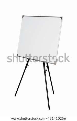 Empty whiteboard on black tripod isolated on white background