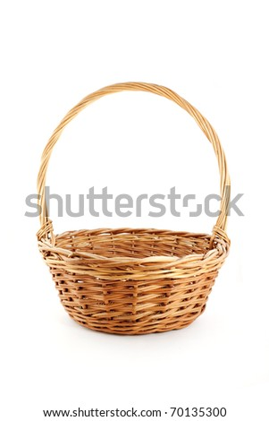 empty wicker basket isolated - stock photo