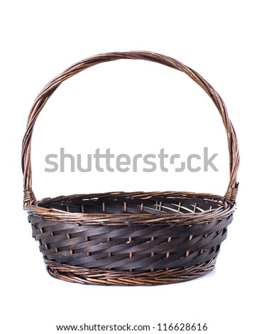 Empty wicker basket isolated on white background. - stock photo