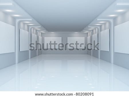 empty wide gallery hall - 3d illustration