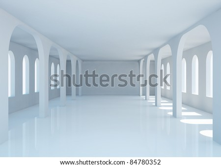 empty wide hall with arched columns and windows - 3d illustration