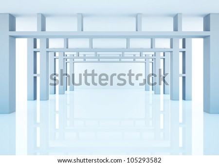 empty wide hall with decorative construction - 3d illustration
