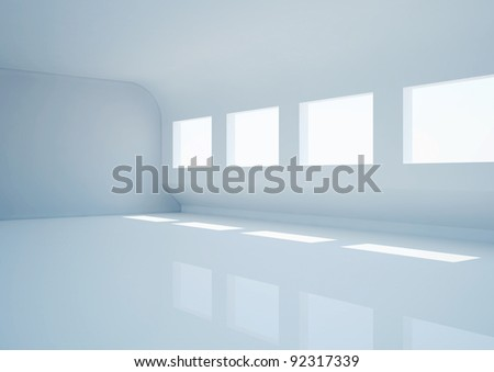 empty wide room, futuristic interior - 3d illustration - stock photo