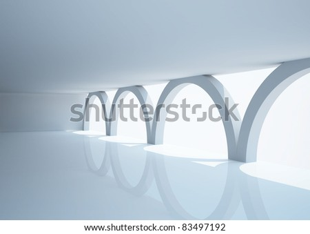empty wide room with arched columns - 3d illustration - stock photo