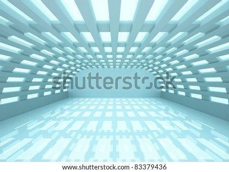 empty wide room with balks and narrow openings - 3d illustration - stock photo