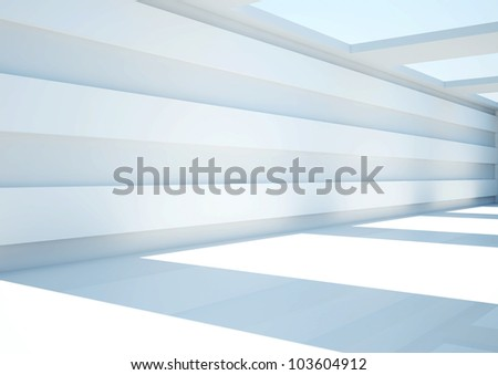 empty wide room with balks and skylights - 3d illustration - stock photo