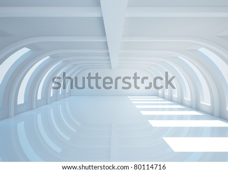 empty wide room with balks - 3d illustration - stock photo