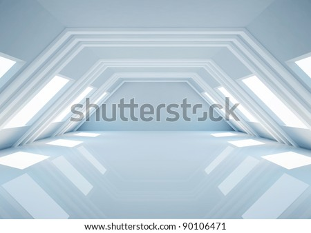 empty wide room with balks, futuristic interior - 3d illustration - stock photo