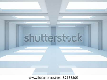 empty wide room with columns and balks, interior showroom - 3d illustration
