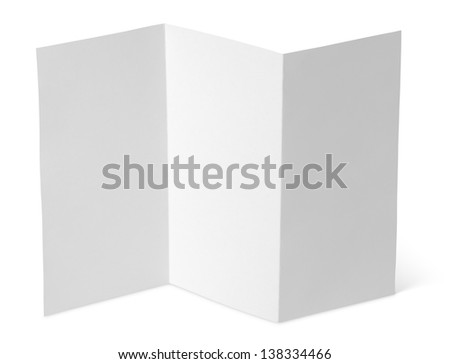 Empty window fold flyer isolated on white with clipping path - stock photo