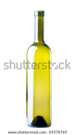 empty wine bottle isolated on a white background - stock photo