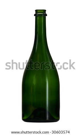 Empty wine bottle of green glass