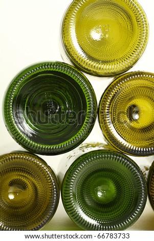 Empty wine bottles isolated on white background - stock photo