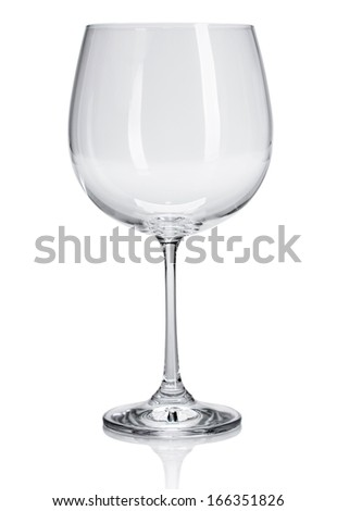 empty wine glass goblet on white background isolated - stock photo