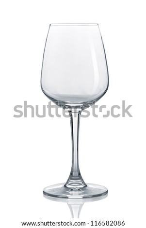 empty wine glass isolated on white background