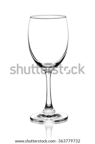 empty wine glass isolated on white background. - stock photo