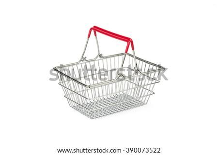 empty wire shopping basket - stock photo