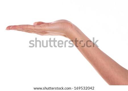 Empty woman hand holding - stock photo
