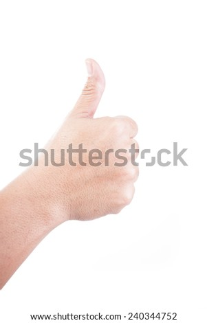 Empty woman hand isolated on white background - stock photo