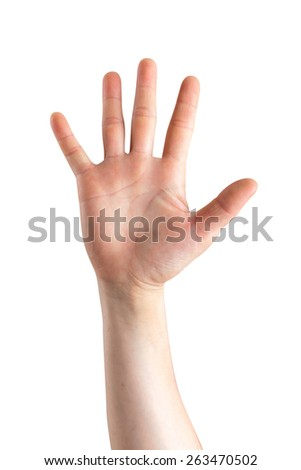 Empty woman hand on white background
