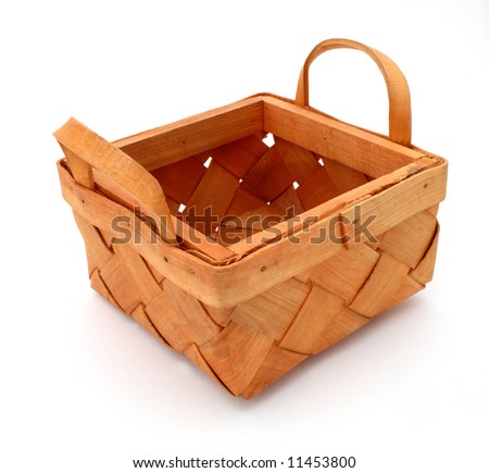 empty wood basket over a white background - stock photo