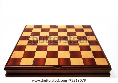 Empty wood chessboard - stock photo