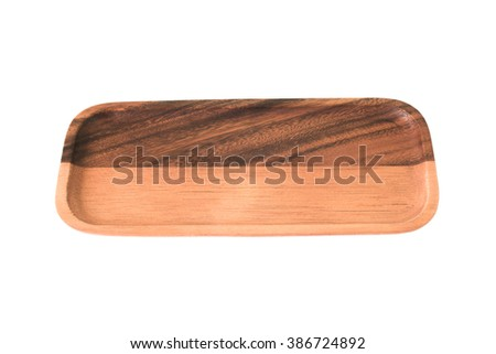 empty wood plate isolate background