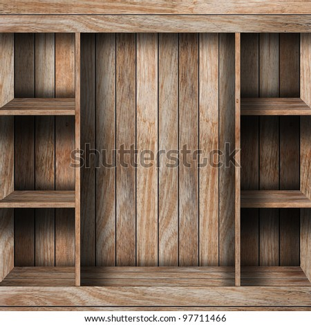 Empty wood shelf. grunge industrial interior Uneven diffuse lighting version. Design component