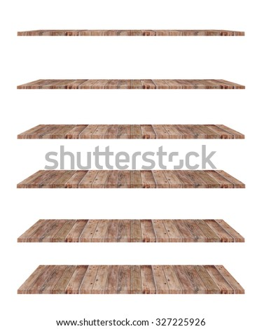 Empty wood shelf isolated. - stock photo