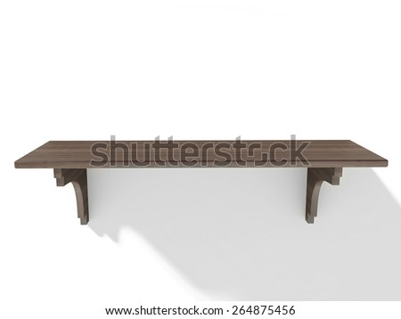 Empty wood shelf on wall - stock photo