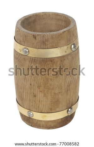 Empty wooden barrel used for storing food items and supplies - path included