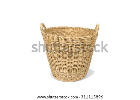 Empty wooden basket isolated on white background - stock photo