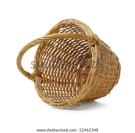 Empty wooden basket on a white background - stock photo