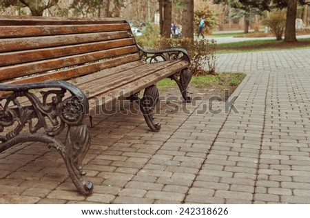 Empty wooden benches  - stock photo