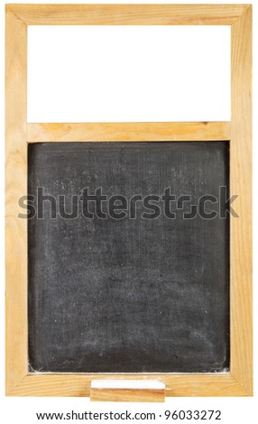 Empty wooden blackboard with chalk over a white background