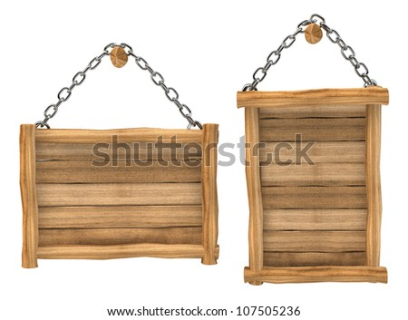 empty wooden board hanging, chain, isolated - stock photo