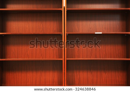empty wooden book shelf