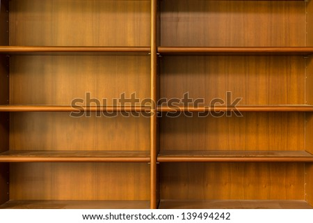 Empty Wooden book Shelf with ladders