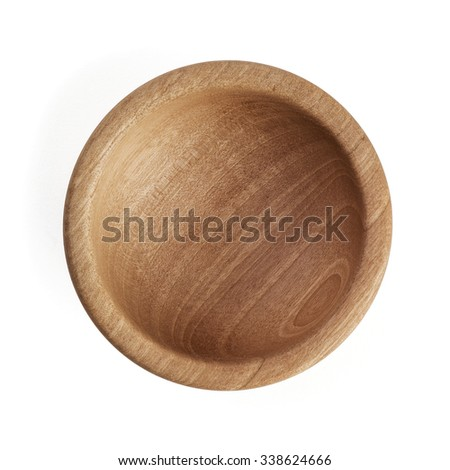Empty Wooden Bowl, isolated, top view - stock photo
